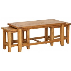 Vancouver Petite Oak Rectangle Nest of 3 Coffee Tables