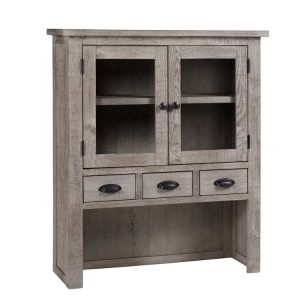 Vancouver Sawn Solid Oak Weathered Grey Furniture 4 Drawer 2 Door Hutch