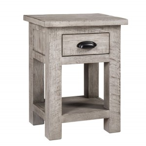 Vancouver Sawn Solid Oak Weathered Grey Furniture 1 Drawer Bedside Table