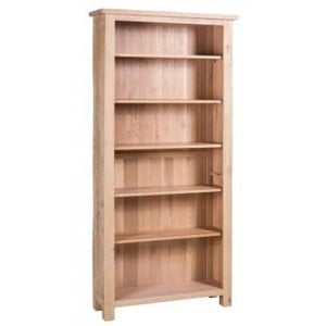 Vancouver Sawn Solid Oak White Wash Furniture Tall Bookcase with Adjustable Shelves