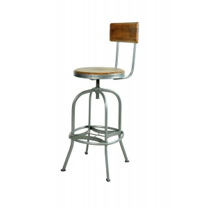 Robin Industrial Dining Furniture Factory Chic Bar Stool with Backrest