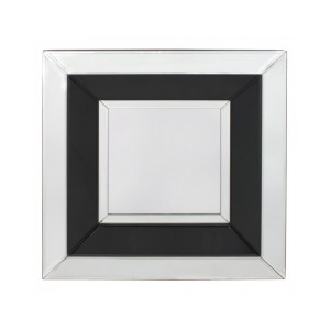 Black Midtown Modern Furniture Small Square Wall Mirror 50cm