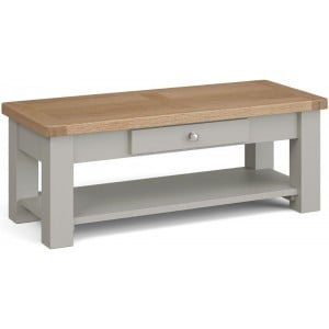 Corndell Daylesford Oak and Pebble Grey Painted 1 Drawer Coffee Table