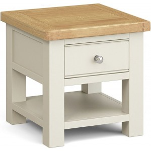 Corndell Daylesford Oak and Ivory Painted 1 Drawer Lamp Table
