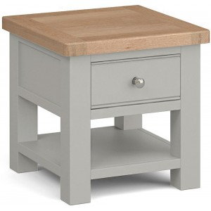 Corndell Daylesford Oak and Pebble Grey Painted 1 Drawer Lamp Table