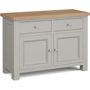 Corndell Daylesford Oak and Pebble Grey Painted 2 Door 2 Drawer Small Sideboard