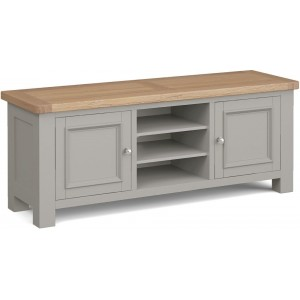 Corndell Daylesford Oak and Pebble Grey Painted 2 Door TV Unit