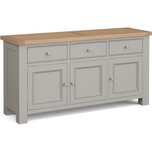 Corndell Daylesford Oak and Pebble Grey Painted 3 Door 3 Drawer Large sideboard