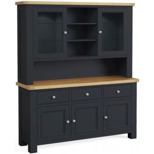 Corndell Daylesford Oak and Charcoal Painted 5 Door 3 Drawer Hutch Dresser