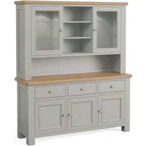 Corndell Daylesford Oak and Pebble Grey Painted 5 Door 3 Drawer Hutch Dresser