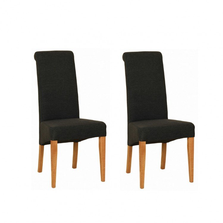 Devonshire New Oak Furniture Charcoal Fabric Chair (Pair)