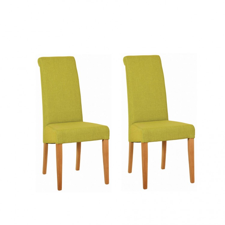 Devonshire New Oak Furniture Lime Fabric Chair (Pair)