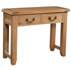 Somerset Rustic Oak Furniture 2 Drawer Console Table