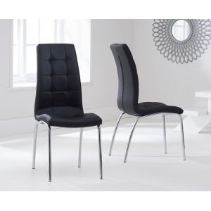 Clearance California Black PU Upholstered Dining Chair Pair