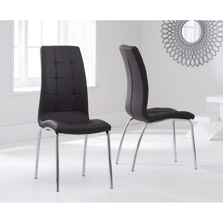 California Brown PU Upholstered Dining Chair Pair