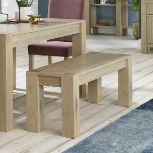 Bentley Designs Turin Aged Oak Furniture Large Dining Room Bench
