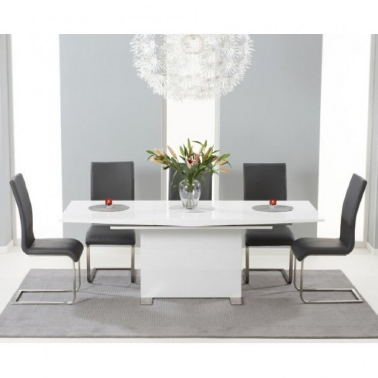 Marila 150cm High Gloss Extending Table & Grey Malibu Chairs