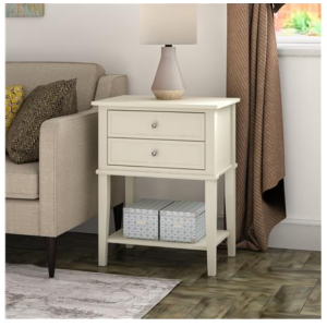 Franklin Wooden Furniture White Accent Table with 2 Drawers