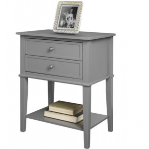 Franklin Wooden Furniture Grey Accent Table with 2 Drawers
