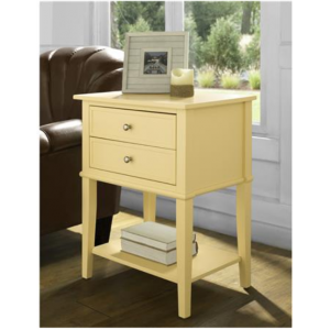 Franklin Wooden Furniture  Yellow Accent Table with 2 Drawers