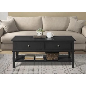 Franklin Wooden Furniture Black Coffee Table with 2 Drawers