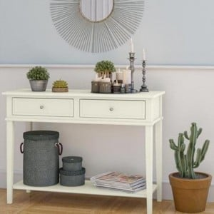 Franklin wooden furniture White Console Table With Drawers