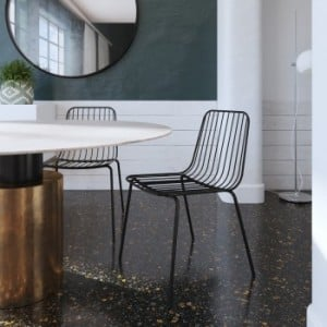 Porthcawl Metal Furniture Black Wire Dining Chairs (Pair)