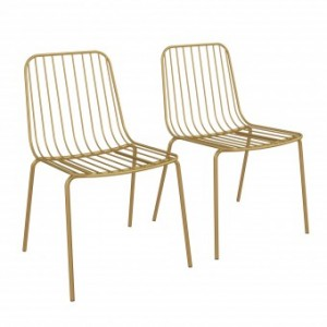 Porthcawl Metal Furniture Gold Wire Dining Chairs (Pair)