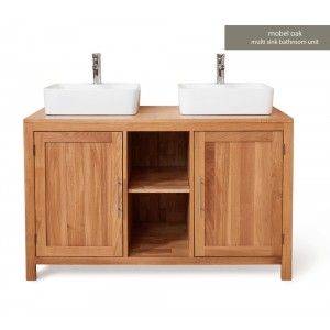 Mobel Oak Bathroom Furniture 2 Door Square Dual Sink Unit