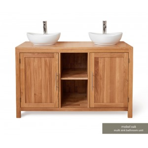 Mobel Oak Bathroom Furniture 2 Door Round Dual Sink Unit