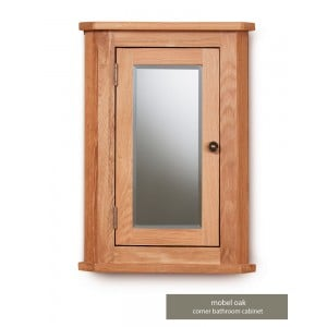 Mobel Oak Bathroom Furniture Mirrored Corner Cabinet
