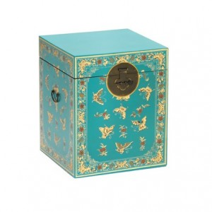 Nine Schools Oriental Furniture Blue Floral Decorated Trunk