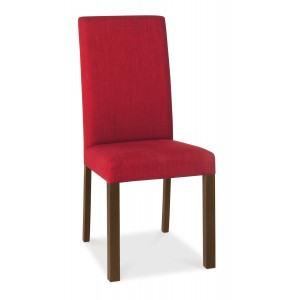Parker Walnut Red Fabric Dining Chair Pair