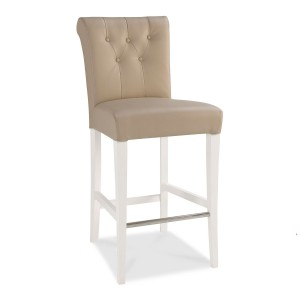 Hampstead Two Tone Furniture Upholstered Ivory Leather Bar Stool Pair