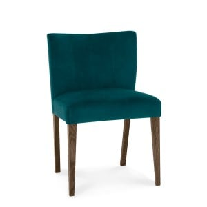 Bentley Designs Turin Dark Oak Low Back Chair Green Velvet (Pair)