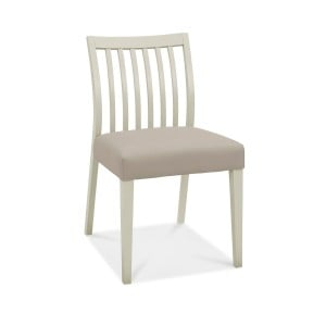 Bentley Designs Bergen Grey Painted Grey Leather Low Slat Back Chairs