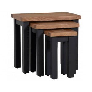 Vancouver Compact Black Grey Nest of 3 Tables