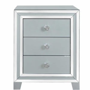 Grey Midtown Mirror 3 Drawer Bedside Cabinet