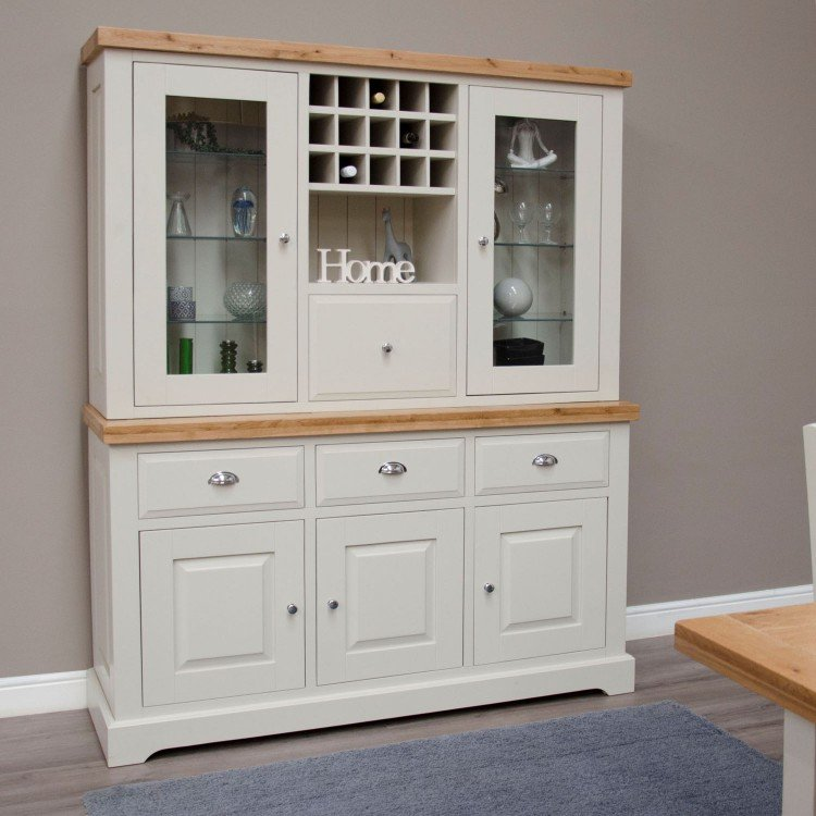 Deluxe Solid Oak And Grey Painted Kitchen Furniture Large Display Dresser