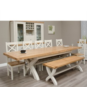 Deluxe Solid Oak Grey Painted Furniture Cross Leg Dining Table 200-280cm - PRE-ORDER