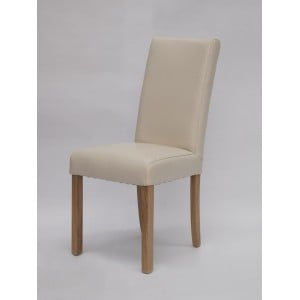 Deluxe Solid Oak Marianna Cream Leather Dining Chair (Pair) - PRE-ORDER