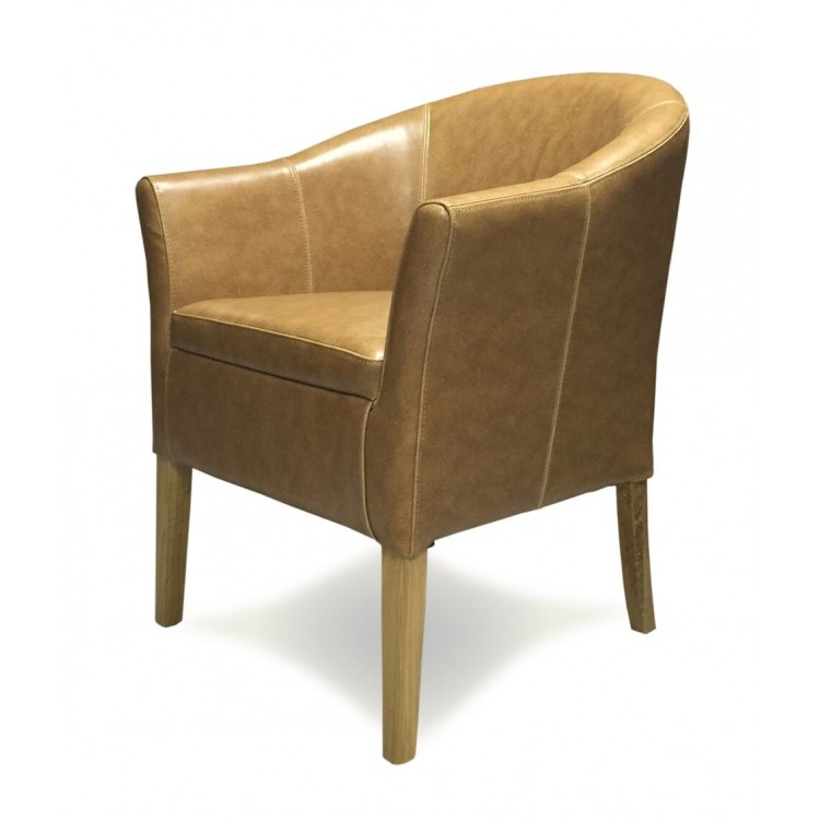 Opus Solid Oak Furniture Tub Tan Leather Dining Chair