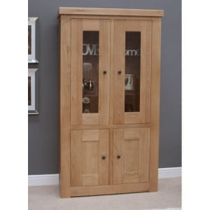 Bordeaux Solid Oak Furniture Glass Display Cabinet