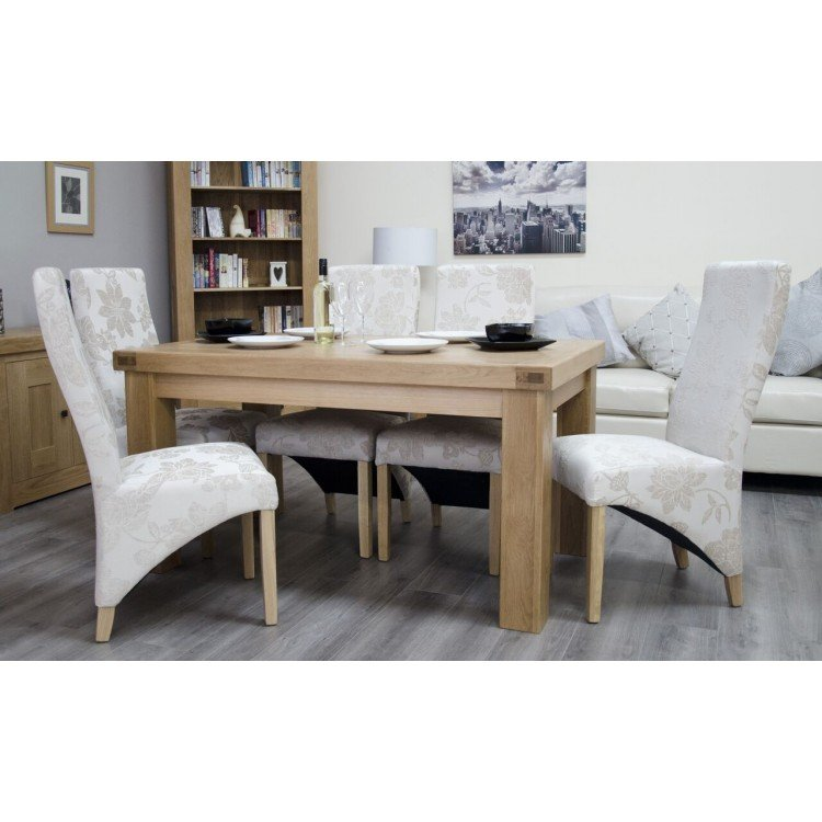 Bordeaux Solid Oak Furniture 150cm Dining Table and Chair Set