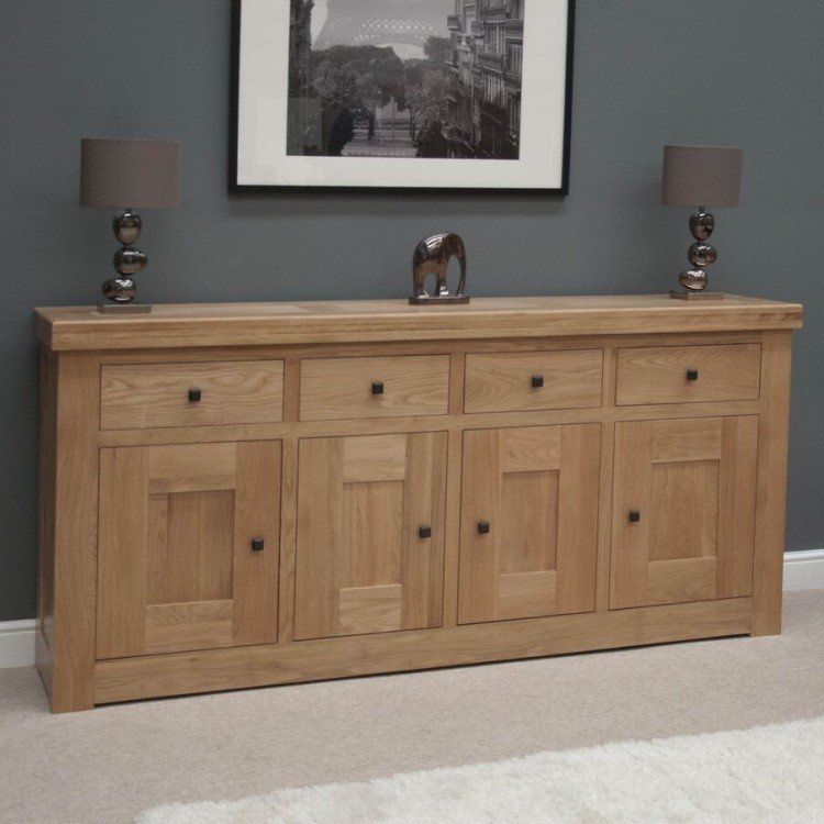 Bordeaux Solid Oak Furniture 4 Door 4 Drawer Sideboard
