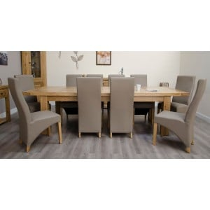 Deluxe Solid Oak Furniture Large Extending 8-14 Seater Table