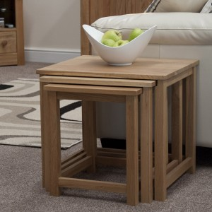 Lyon Oak Living Room Furniture Nest of Tables