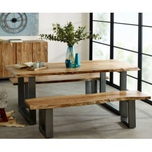 Indian Hub Acacia Baltic Live Edge Furniture Dining Table 2m