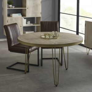 Indian Hub Mango Light Gold Furniture Round Dining Table
