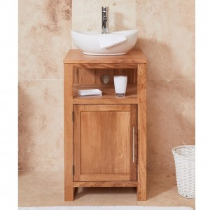 Mobel Oak Bathroom Furniture 1 Door Round Single Sink Unit